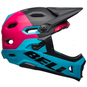 Kask rowerowy damski BELL SUPER DH MIPS SPHERICAL Unhinged Matte Gloss Black Berry Blue R: S(52–56 cm)