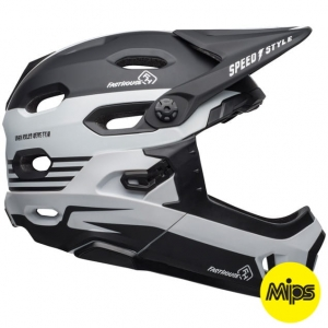 Kask rowerowy BELL SUPER DH MIPS SPHERICAL Fasthouse Stripes Matte Black White R: S(52-56cm)