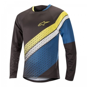 Koszulka rowerowa Alpinestars Predator Jersey L/S Black / Royal Blue / Acid Yellow R: L